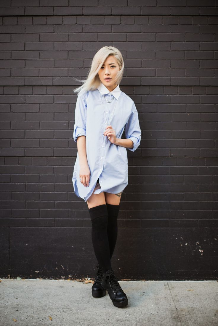 25 Simple Ways to Style a Shirtdress forSpring | StyleCaster high knee socks and flowy jeans shirtdress