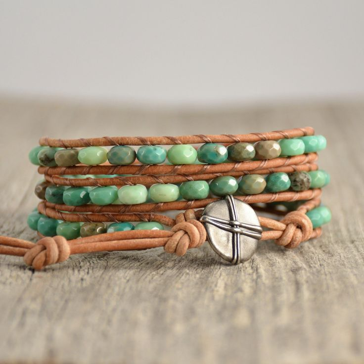 Green beaded triple wrap bracelet. Boho chic natural jewelry by SinonaDesign on Etsy https://www.etsy.com/listing/246730733/green-beaded-triple-wrap-bracelet-boho