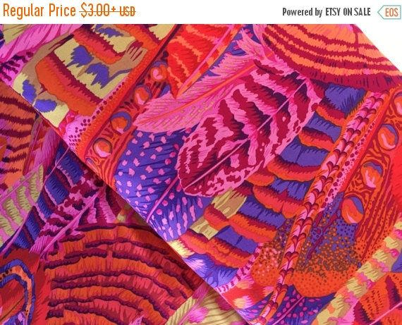 Anniversary Sale Feathers in Red by Philip Jacobs, Kaffe Fassett, Choose Your Cut, Kaffe Fassett Collective by CurlyGirlFabric on Etsy