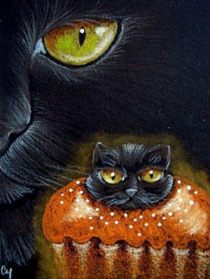 "Cat Art...=^.^=...❤... ""Black Cat with Kitty Cupcake"" By Artist  Cyra R. Cancel..."