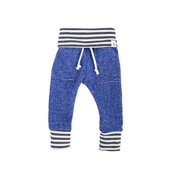 Cobalt blue & stripe sweats, baby heather sweats,  kid sweat pants, take home outfit, baby jogging outfit,