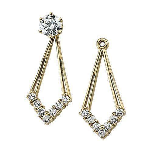 14K Yellow Gold 1/4 ct. Diamond Earring Jackets Katarina. $565.00