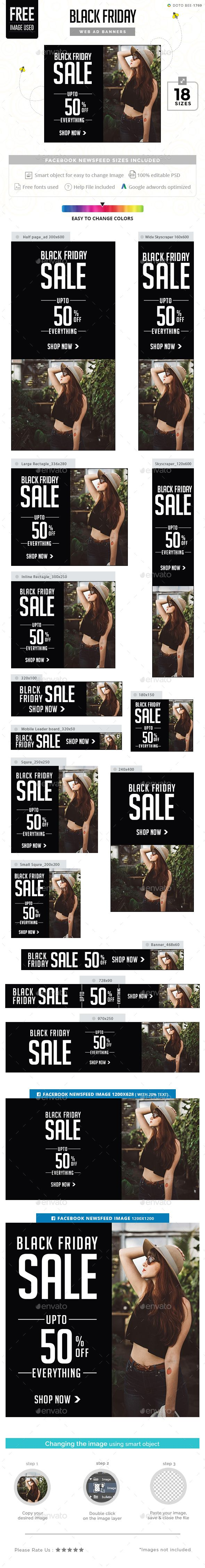 Black Friday Sale Banner Design Ads Template - Banners & Ads Web Elements Banner PSD Template. Download here: https://graphicriver.net/item/black-friday-sale-banners/18712498?ref=yinkira