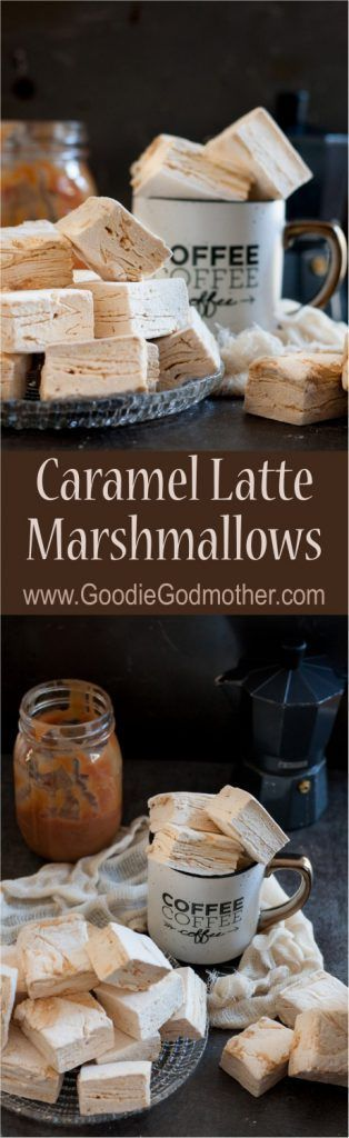 A rich caramel swirl rippled perfectly through pillowy coffee flavored marshmallows. These caramel latte marshmallows are coffee-lover gourmet marshmallow perfection, and perfect to make at home. * Recipe on GoodieGodmother.com: