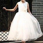 Corte en A Hasta la Rodilla Vestido de Niña Florista - Raso / Encaje / Satén Estirado Sin Mangas Joya con 2016 - $39.99
