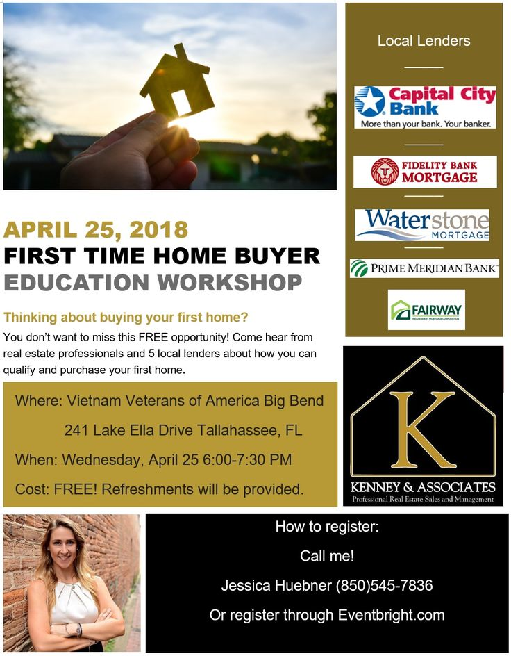 April 25, 2018  First Time Home Buyer Crash Course  Thinking about buying your first home?  You don't want to miss this FREE opportunity! Come hear from real estate professionals and 5 local lenders about how you can qualify and purchase your first home.