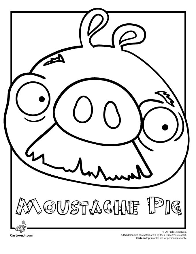 Angry Birds Coloring Pages Moustache Pig Cartoon Jr