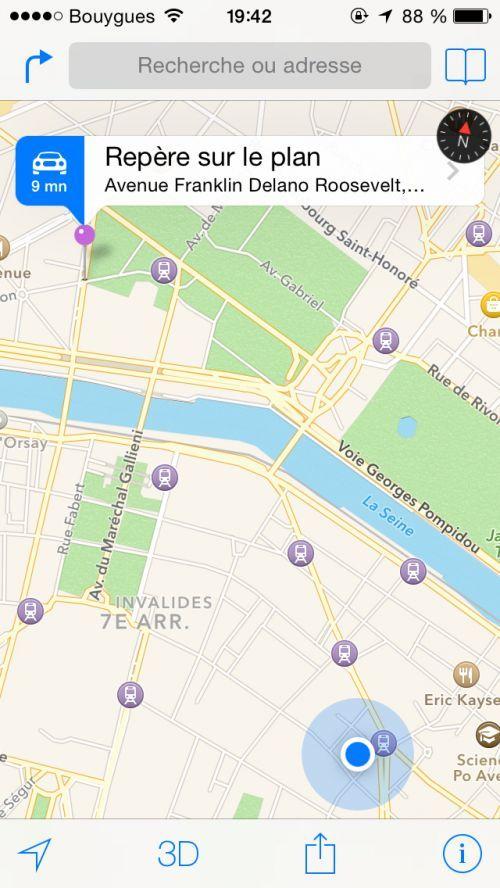 Placez un repère sur Google Maps pour retrouver votre voiture