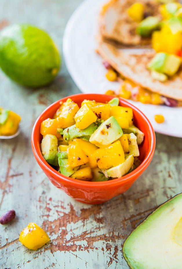 Lightened Up Corn and Bean Quesadillas with Avocado-Mango-Chipotle Salsa (vegetarian/vegan option) - You don't have to derail your diet to e...