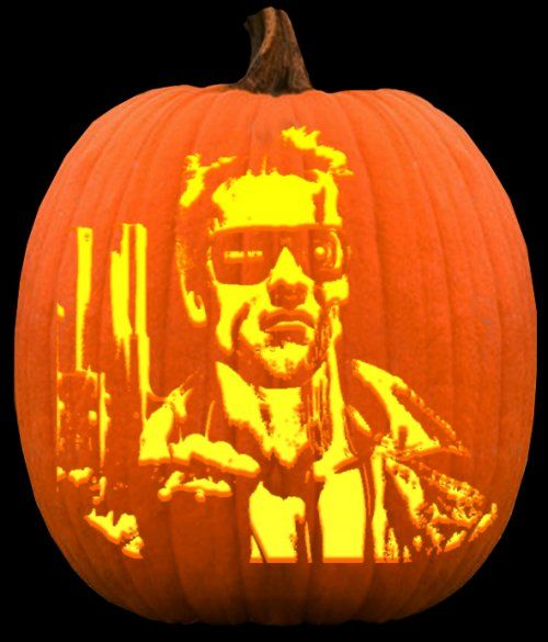 Arnold Pumpkin Halloween With Alien And Terminator Pumpkin