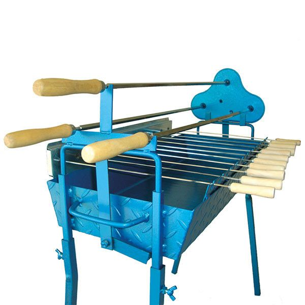 The original traditional blue Greek Cypriot rotisserie barbecue. The rotisserie foukou bbq set includes three large skewers for souvla and eleven wooden handled shorter skewers for souvlaki kebabs. www.CyprusBBQ.co.uk