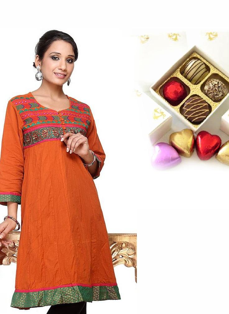 Orange Short Kurti With Chocolates Sister Rakhi Thank You Hamper