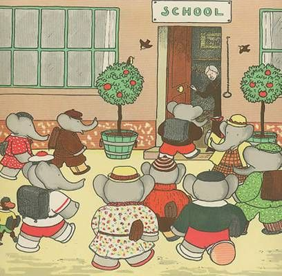 Young Elephants going to school, vintage print