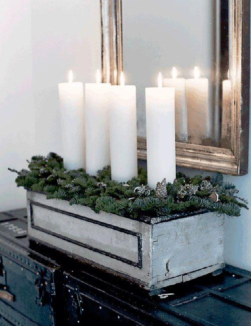 Subtle Christmas decor, H.Hemmingsen home in Copenhaguen, candles