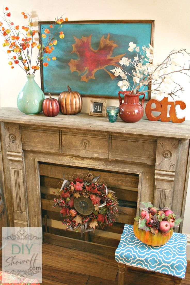 Mantel  Decorations : IDEAS & INSPIRATIONS : Red and Turquoise Fall Mantel