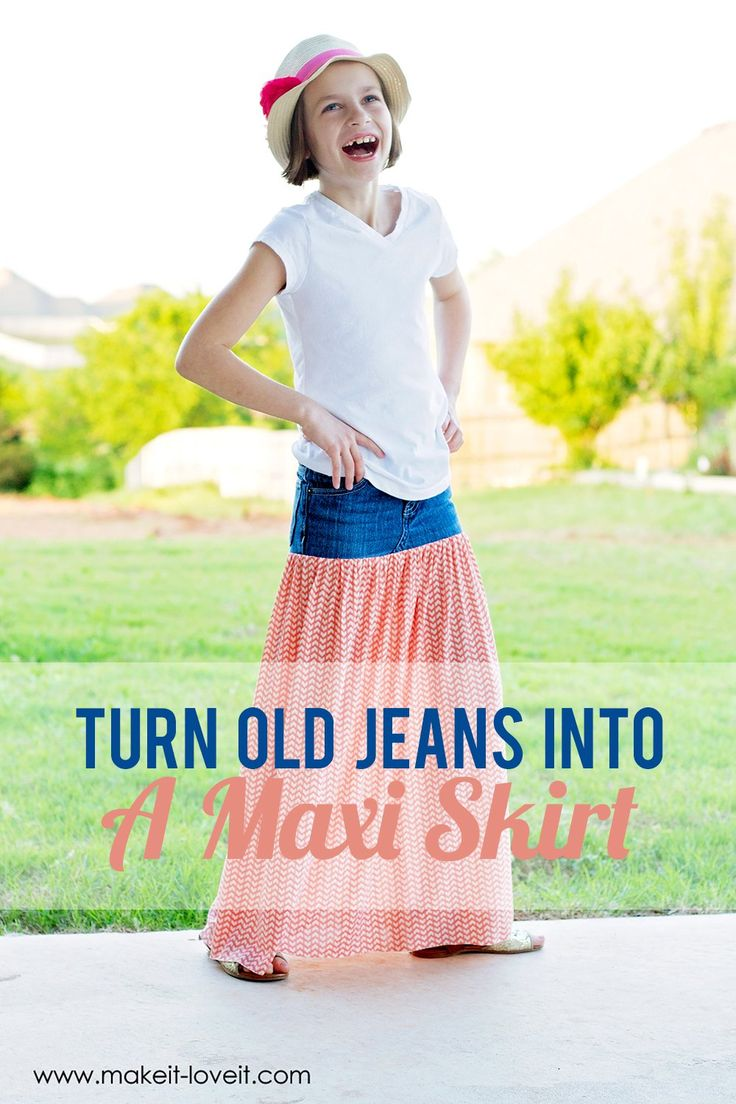 Turn Old Jeans into a Maxi Skirt | via Make It and Love It So going to try a grown up version!