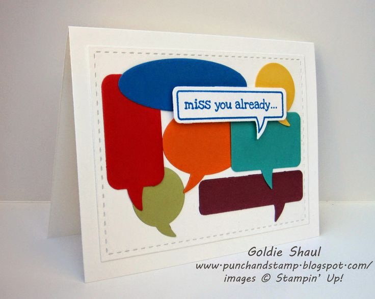 Miss you already rainbow word bubbles card. Punch and Stamp with Goldie..