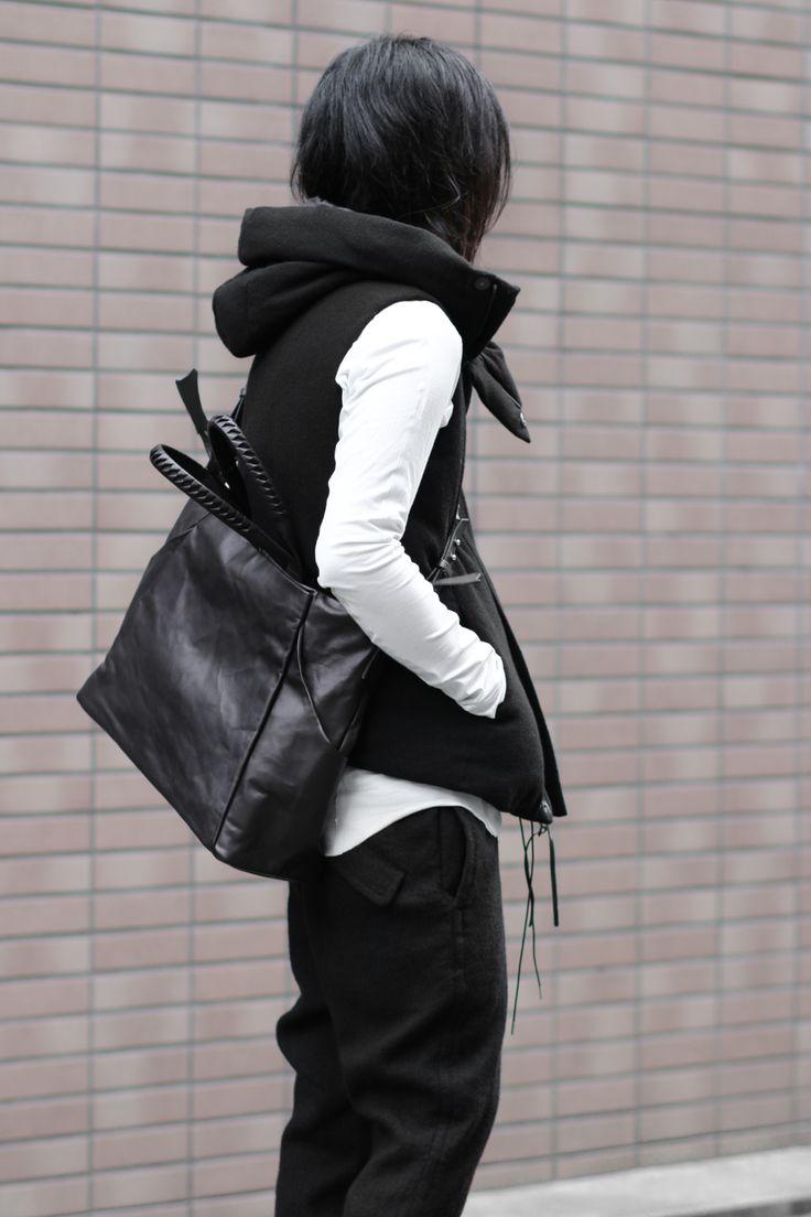 Wool Hooded Sleeveless Down - The Viridi-anne×cornelian taurus Bag Style - Back