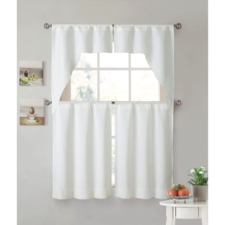 Vcny Home Noelle Lace 4-piece Kitchen Curtain Set (White - white) (Polyester, Solid)