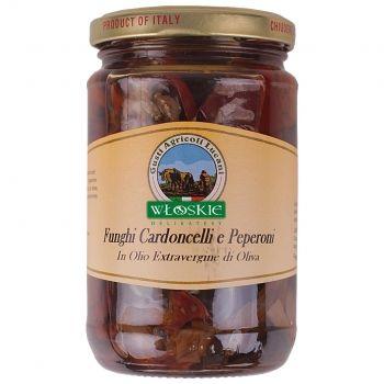 Suszona, słodka papryka i suszone boczniaki mikołajowe zamarynowane w doskonałej oliwie z oliwek. Można je jeść na zimno i na ciepło. Sprawdzą się jako dodatek do wędlin, pieczonych mięs lub sosów.