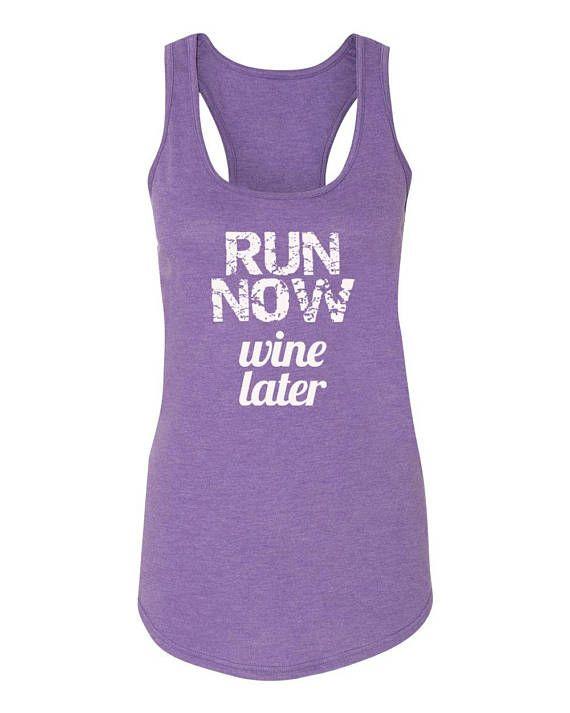 Run Now Wine Later Running Tank Marathon Tank Half Marathon
