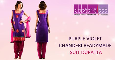 Visit ‪‎Chhabra555‬ in ‪‎Australia‬ with Responsive ‪Customer Service‬ - enquiries responded within 24 hours, and buy PURPLE VIOLET CHANDERI READYMADE SUIT DUPATTA @ $79.95 AUD