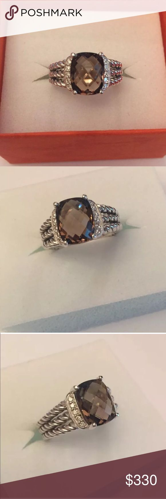 DAVID YURMAN PETITE WHEATON RING W SMOCKEY Quartz DAVID YURMAN PETITE WHEATON RING WITH Smockey Quartz 10x8mm size 51/2 preowned gently used David Yurman Jewelry Rings