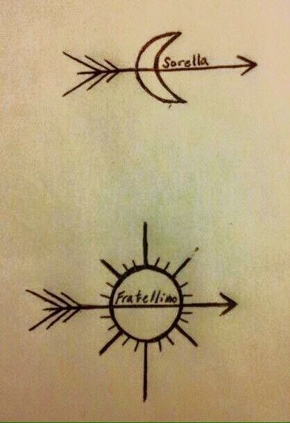 Italian to English: Sorella = Sister Fratellino = Brother Siblings, Arrows, Sun & Moon Tattoo ideas