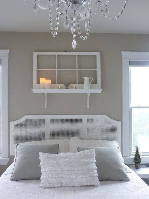 Window into shelf - Cottage Living - from Beach to Burbs: AT THE BEACH HOUSE: the wall over the bed