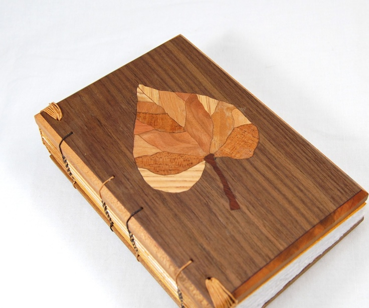 A Single Leaf - Marquetry Coptic Wood Journal. $103.00, via Etsy.