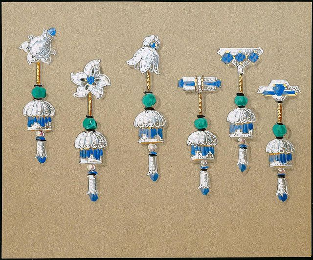 Cartier earring designs (Six designs with sapphires, diamonds, and gold) by peacay, via Flickr