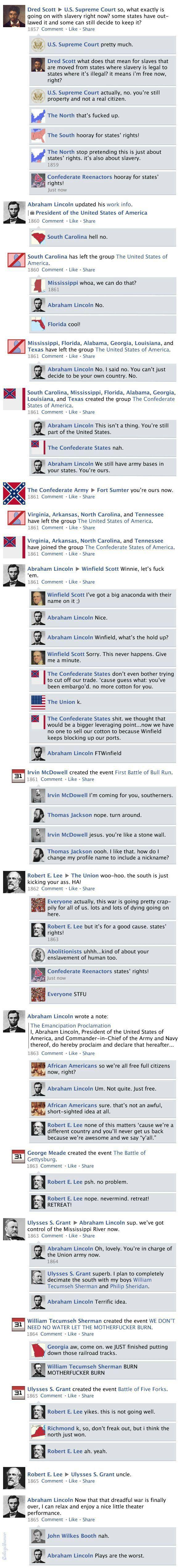 Civil War On Facebook History Humor History Jokes World History
