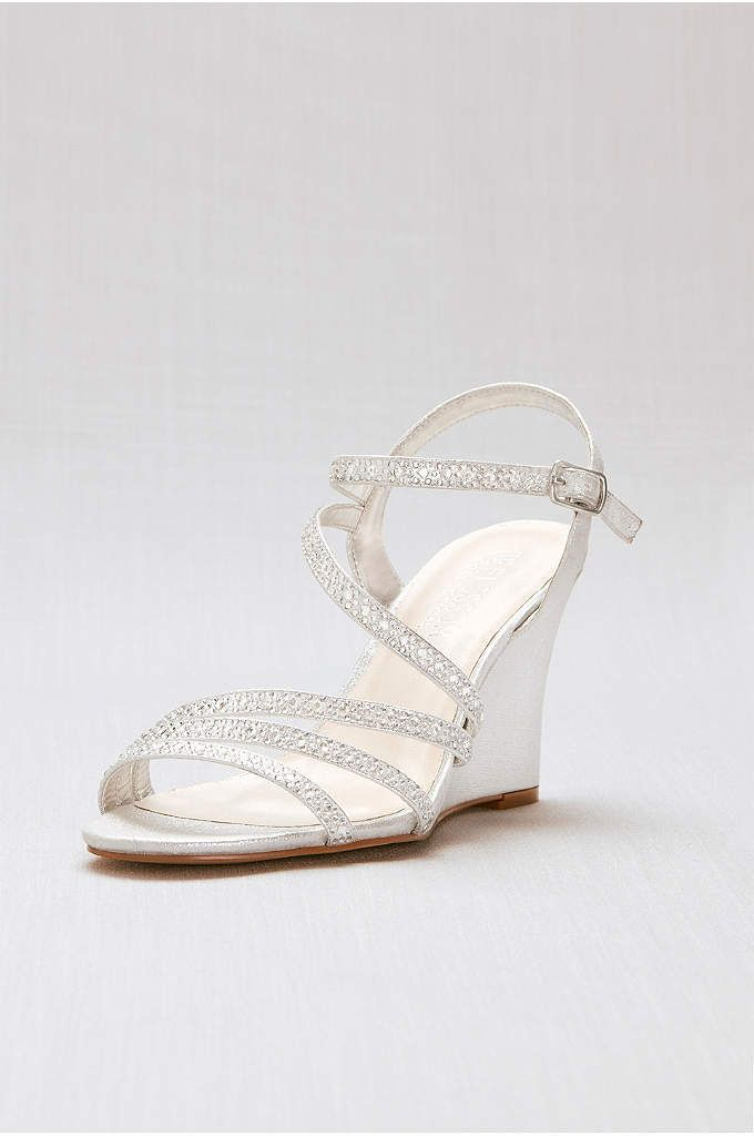 Crystal Detailed Strappy Low Wedges These strappy