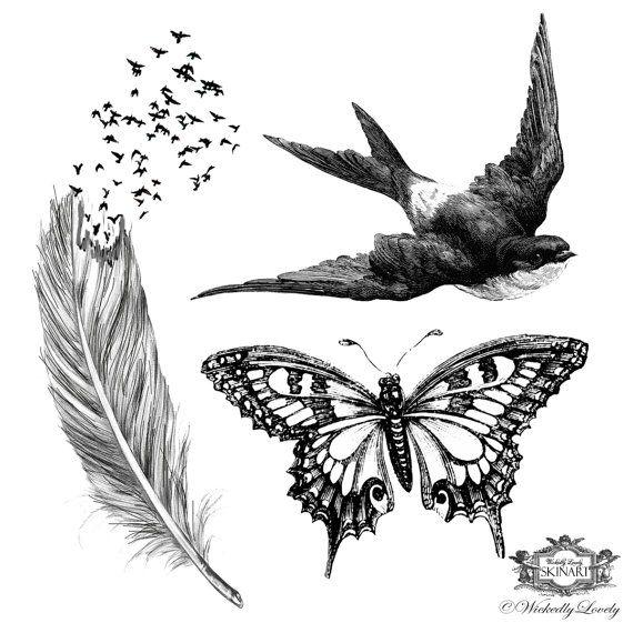 Vleugels, Assorted set 2, Feather met vogels tattoo, butterfly tattoo, zwaluw tattoo huid kunst, Body art, Temp Tattoos, omvat 3 tatoeages.