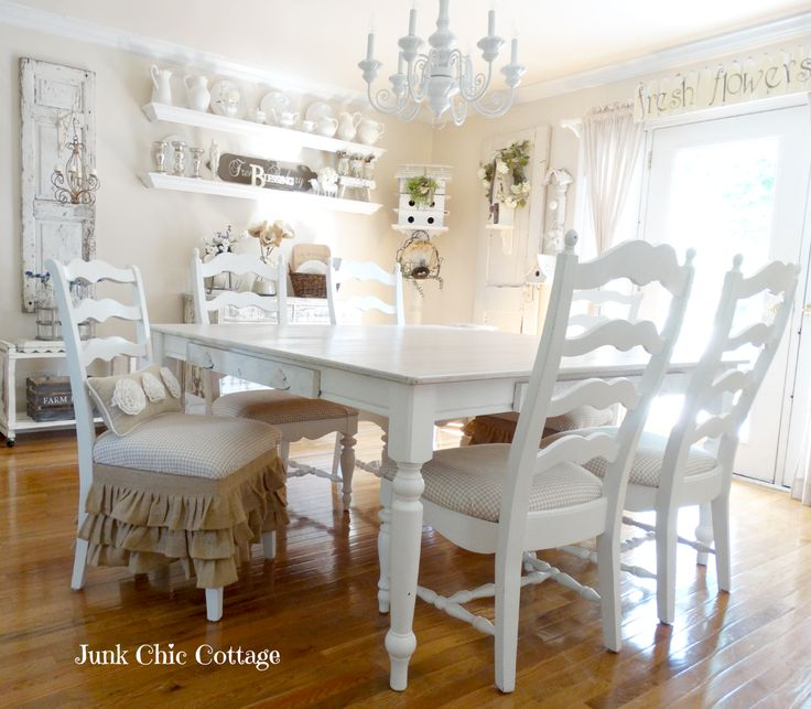 Shabby Chic Dining Room With Farmhouse Table Junk Cottage Home Tour