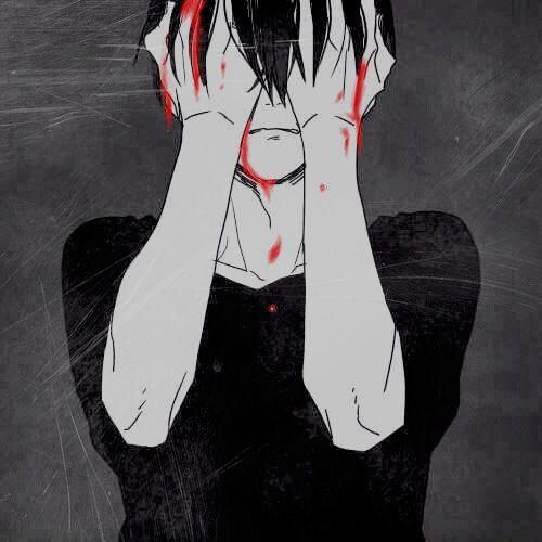 Sad bloody anime boy