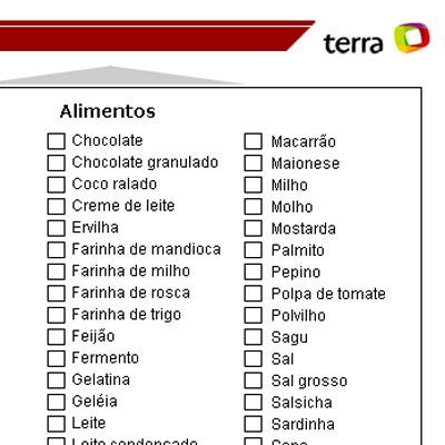 Lista De Compras De Supermercado Alimentos Bebidas E