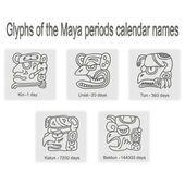 Conjunto de iconos monocromos con glifos de los nombres de calendario Maya períodos — Ilustración de stock #96733894