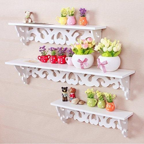 Tribesigns Set of 3 Modern Filigree Style Wall Mount Floating Shelves for CD Book Display Storage Canddle Utility Rack White