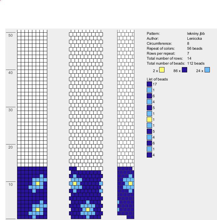 blue. light blue. gold. bead crochet rope pattern. leniccka
