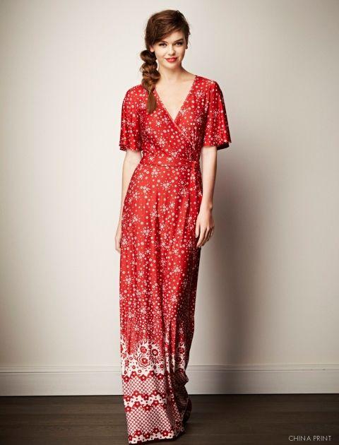 Get Frocked! with Leona Edmiston www.leonaedmiston.com.au Gretchen Dress red and white print maxi dress | butterfly sleeve dress