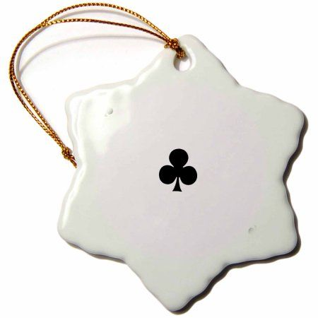 3dRose Ace of Clubs playing card - Black club suit - Gifts for cards game players of poker bridge games, Snowflake Ornament, Porcelain, 3-inch