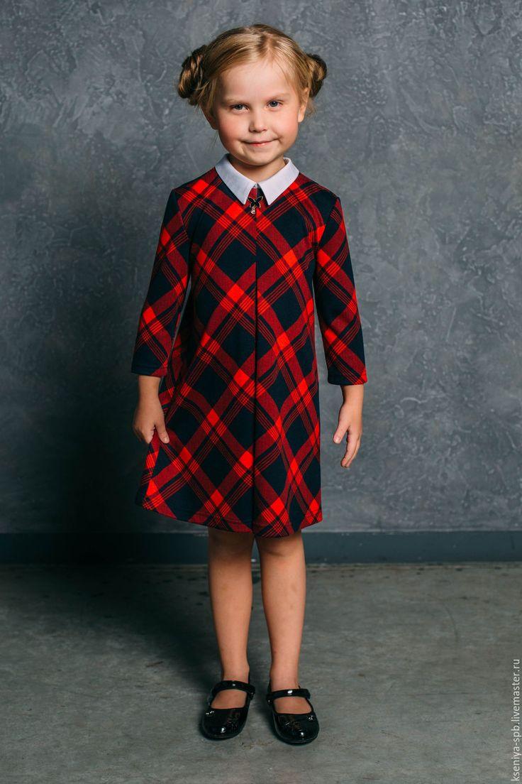 """Купить Платье для девочки с длинным рукавом """"Модница"""" (86) - в клеточку, платья для детского сада"""
