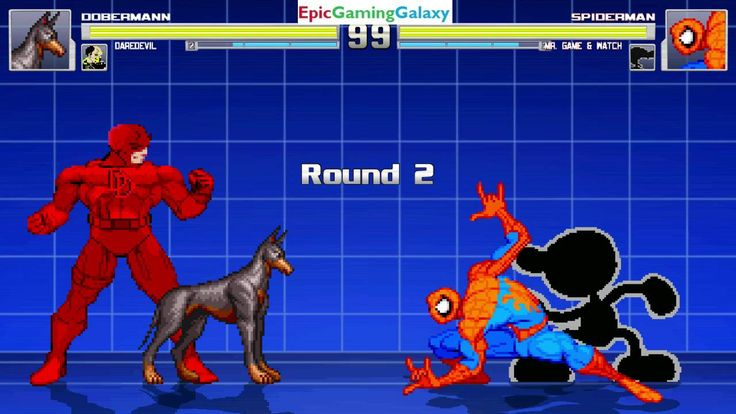Daredevil And Doberman Pinscher VS Mr. Game & Watch And Spider-Man In A MUGEN Match / Battle / Fight This video showcases Gameplay of Mr. Game & Watch And Spider-Man The Superhero VS The Doberman Pinscher And Daredevil In A MUGEN Match / Battle / Fight