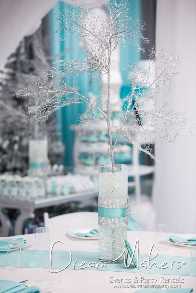 Branch centerpieces winter wonderland birthday and winter birthday
