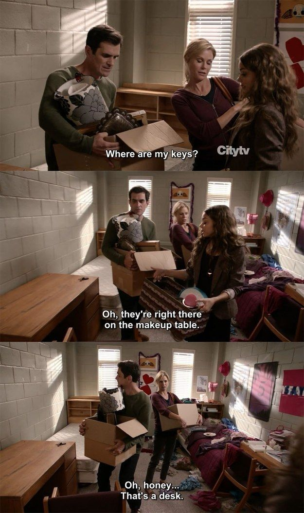 "When Haley moved out of her dorm. | 21 ""Modern Family"" Moments That'll Make You Laugh Every Time"