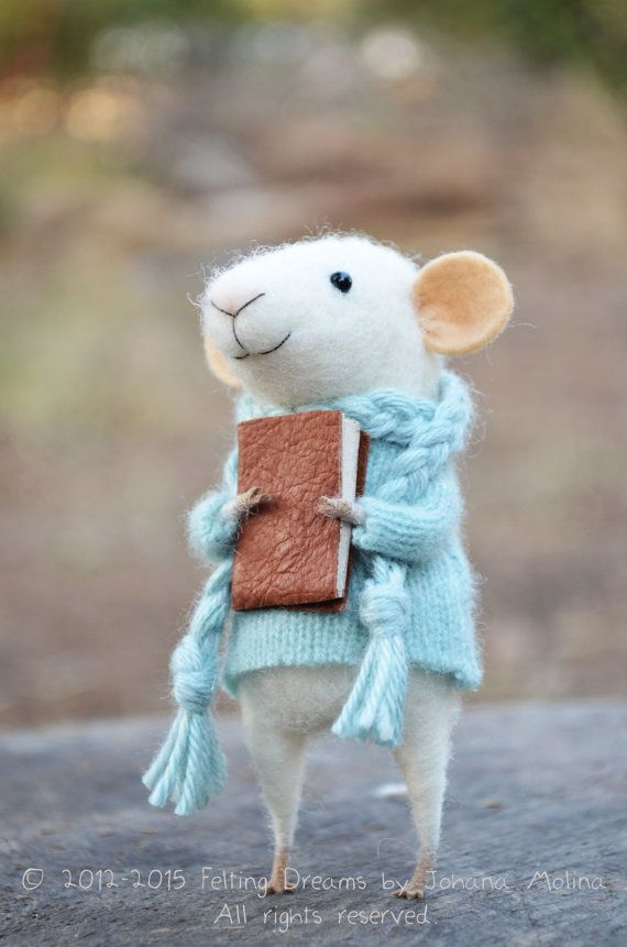 Little Reader Mouse Needle Felted Ornament by feltingdreams