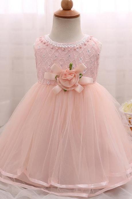03878f4376 Baptism Princess Girl Wedding Dress Formal Kids Dresses for 1 2 year  Birthday Infant Newborn Girls Clothes Children Dress pink