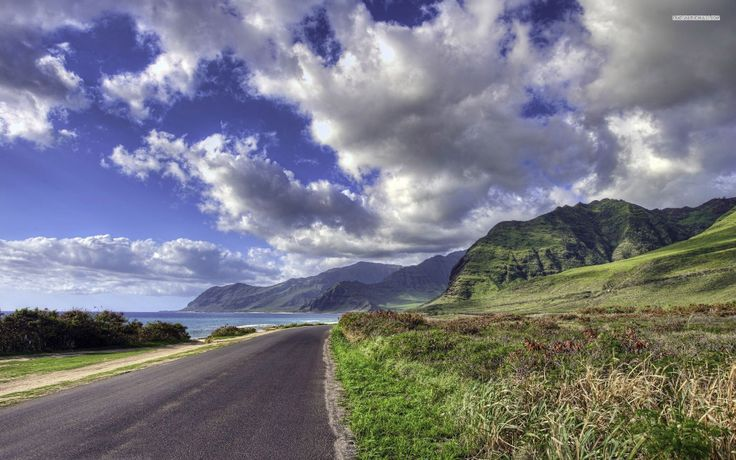 Road to the hills and ocean wallpaper