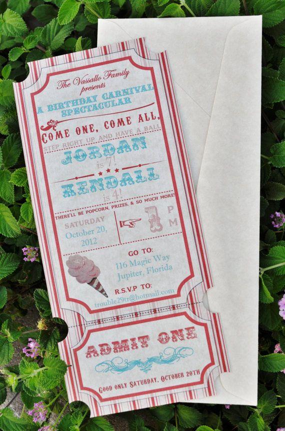 DIY Vintage Carnival Invitations Printable by Lexdesignsco on Etsy